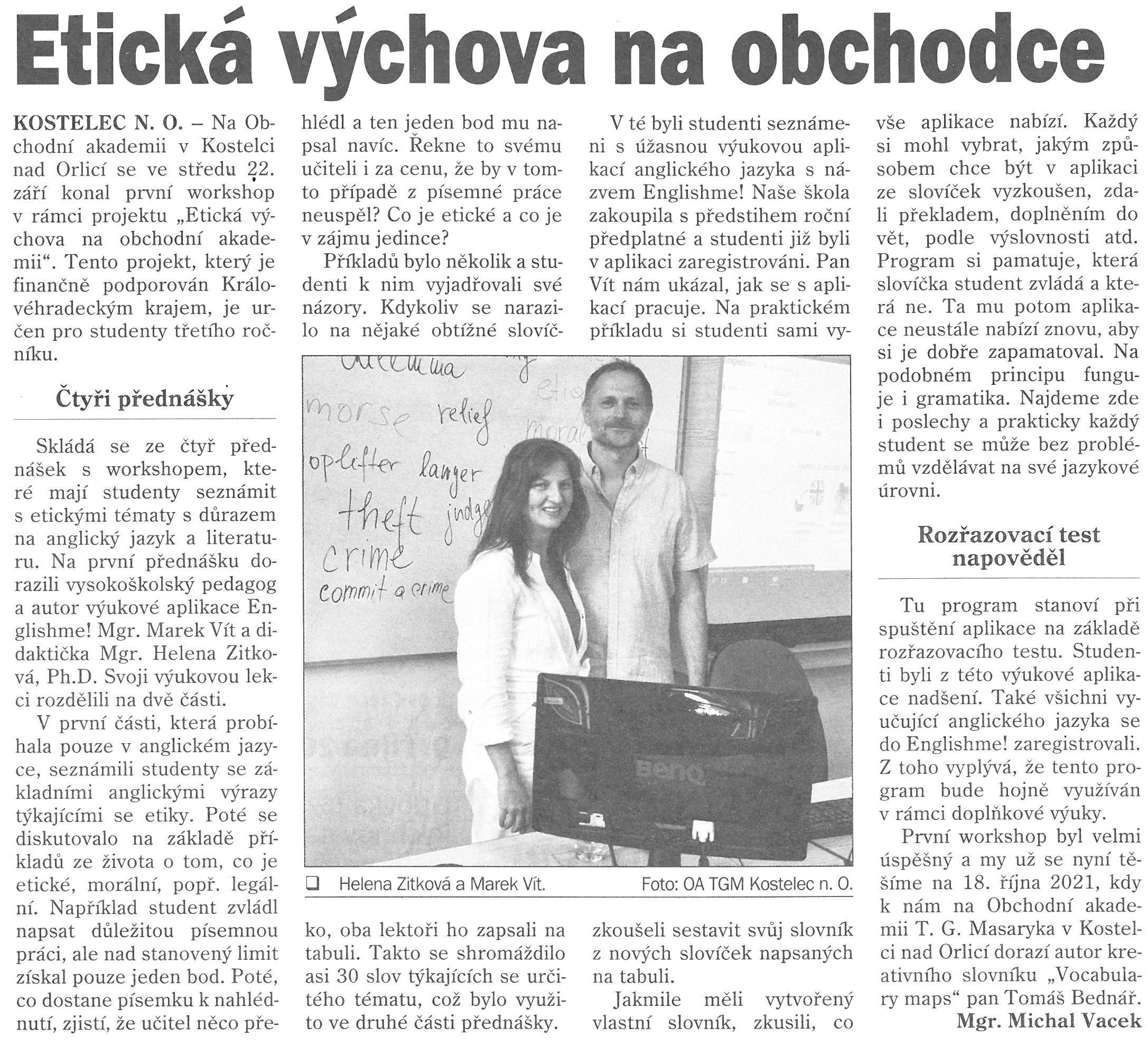 Článek z novin - Etická výchova